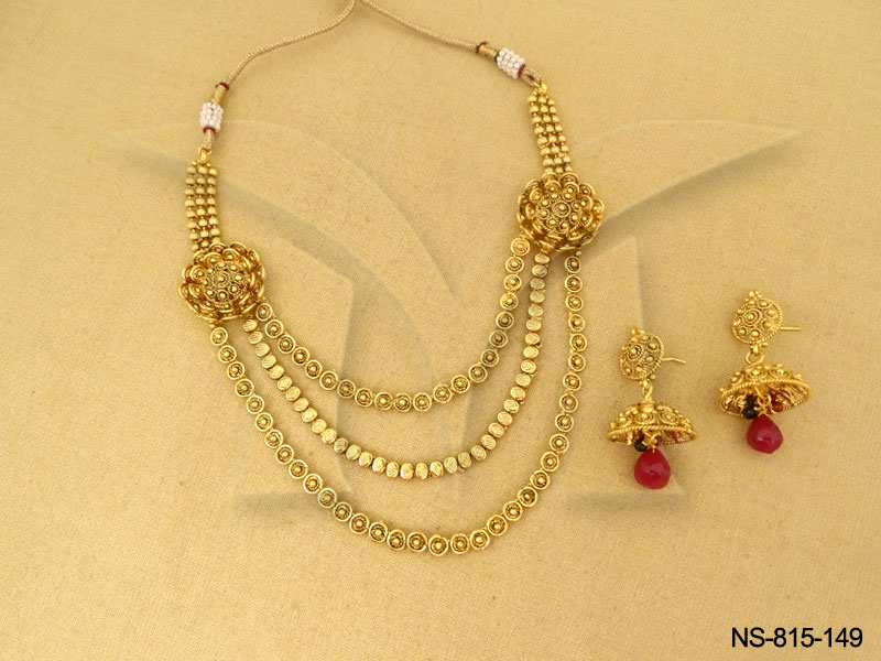 Polki Necklace Sets : 3Line With Flower Gold Antique Necklaces