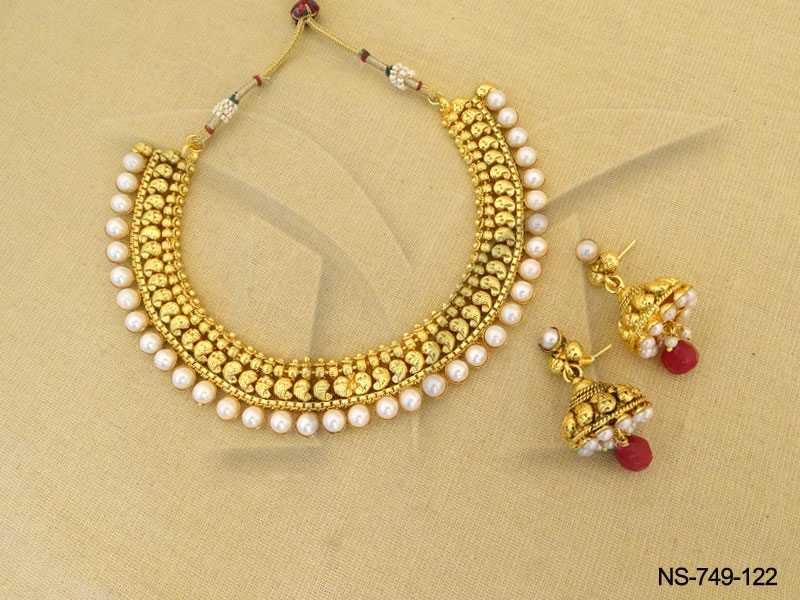 polki-necklace-sets-south-indian-style-gold-antique-necklaces ...