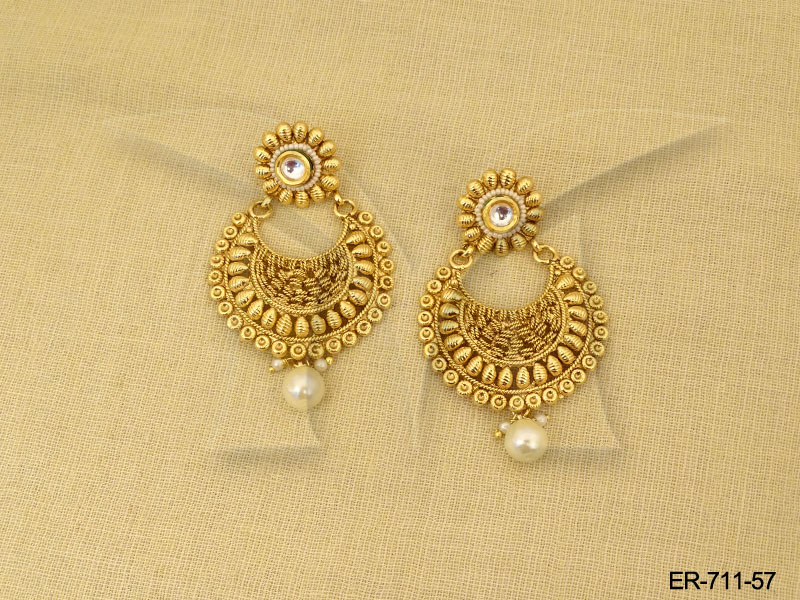 Polki Earings Golden Tops Antique Earrings 142140809548kgn