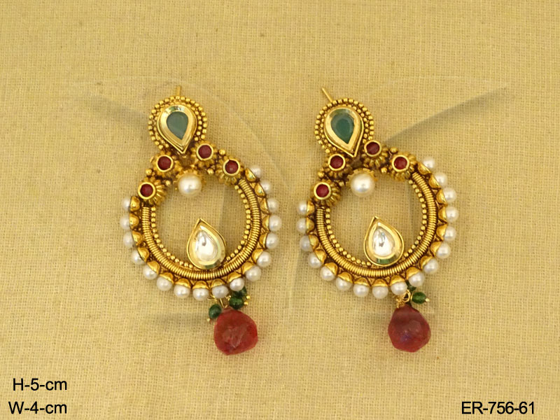 women jhumka plated for meena work gold antique design girls buy floral earrings
