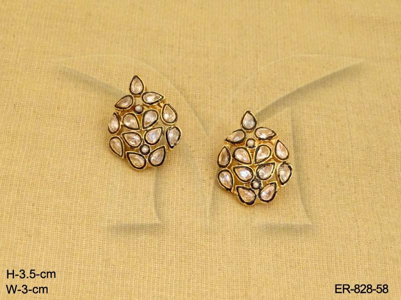 Traditional Round Polki Earrings