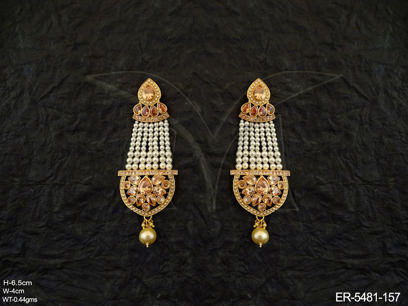 Long Traditional Polki Earrings
