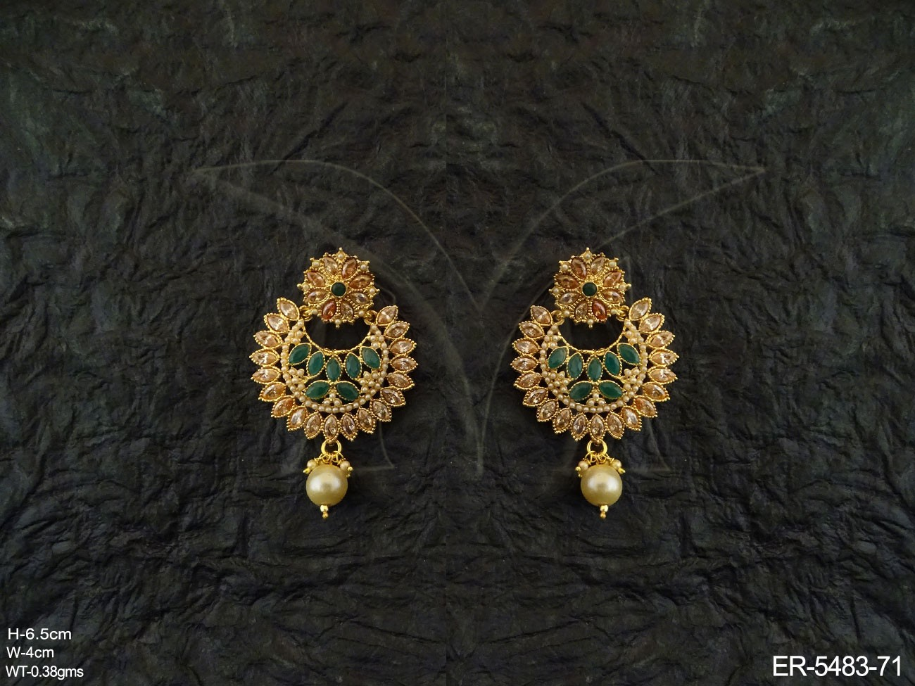 Chand Bali Style Polki Earrings