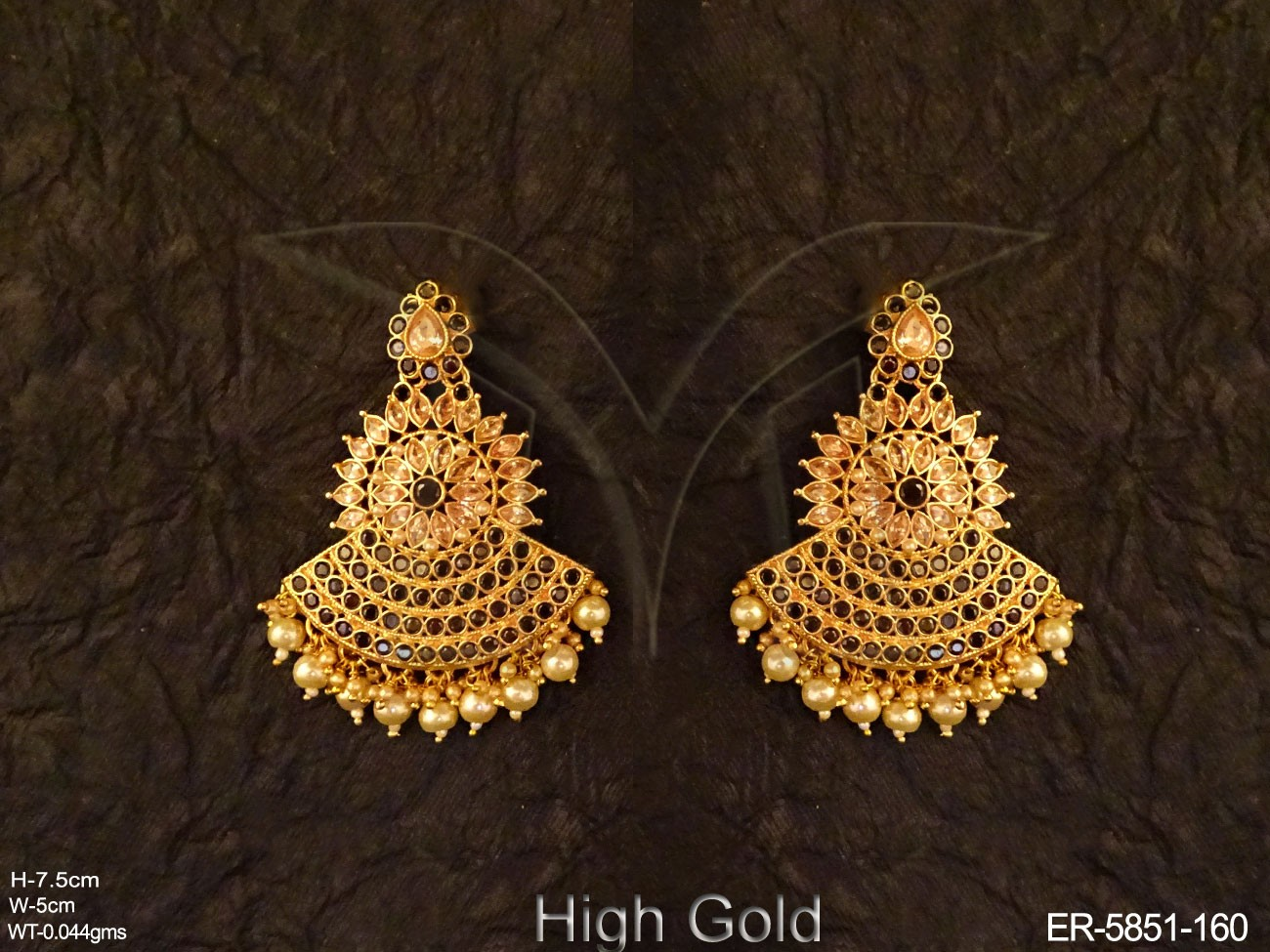 Round Chand Bali Type Polki Earrings