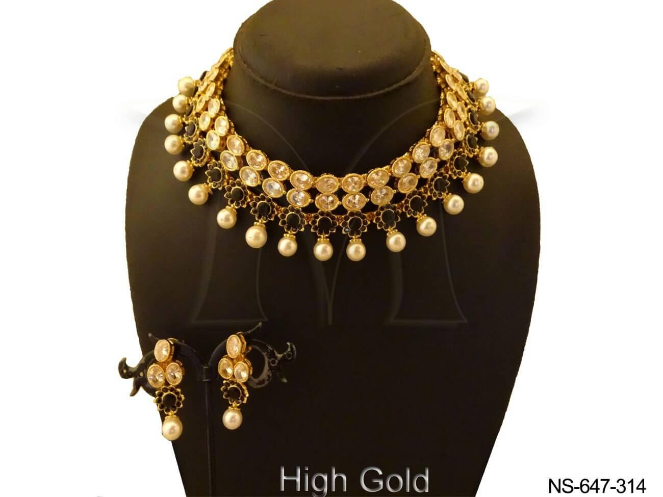 Moti Drop Polki Necklace Set