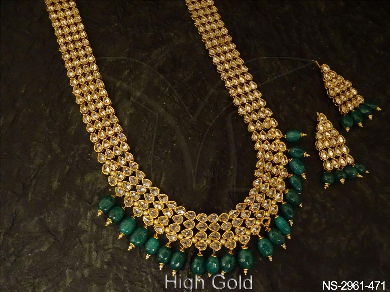 Long Polki Necklace Set